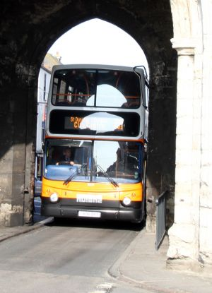 Bus under the Westgate Towers